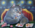Светлана Кисляченко Jam-Art - Royal Flush (gato jugando poker)