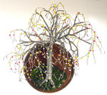 Sal Villano Wire Tree Sculpture - cuentas en  redondo  basar  -   pared  arte  Escultura