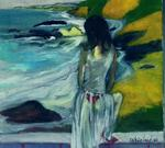 Harry Weisburd - Mujer En Vestido Sheer By The Sea