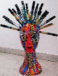 Mirit Ben-Nun - Styrofoam head mannequin markers, color pencil, gold tacks acrylic painted