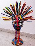 Mirit Ben-Nun - Styrofoam head mannequin color pencils, color pencil, gold tacks acrylic painted