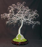 Sal Villano Wire Tree Sculpture - martillado hojas Bonsai - alambre árbol escultura