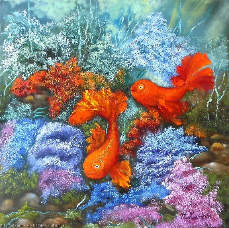 Obra De Arte >> Natalya Zhdanova >> dos peces de oro aceite original ...