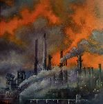 Tomas Castaño - Industry polluting at sunset